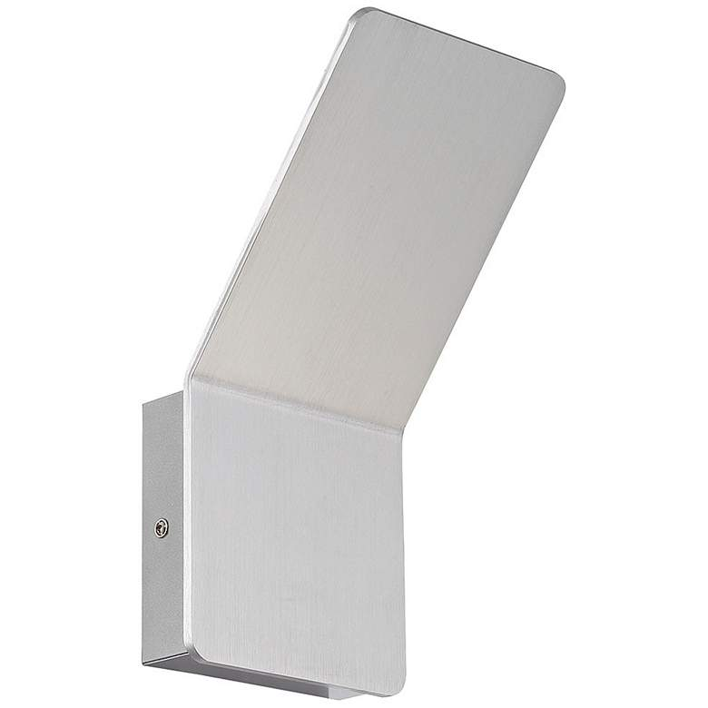 """Delroy 9 1/2"""" High Aluminum Finish Modern LED Wall Sconce"""