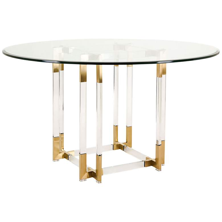 "Koryn 54"" Wide Brass and Glass Modern Round"
