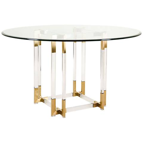 Koryn Brass Steel and Clear Glass Round Dining Table