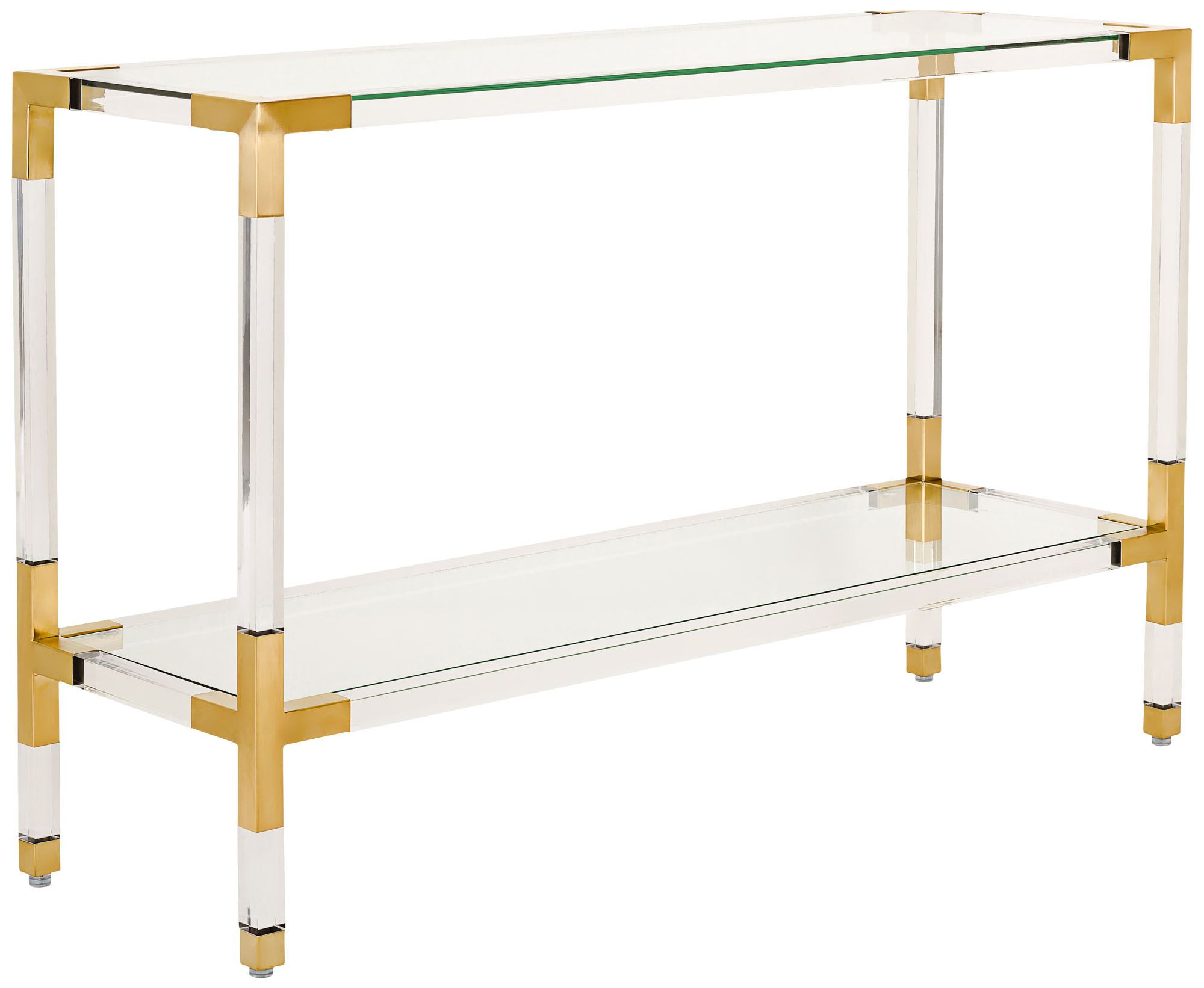 Arverne Brass Steel and Clear Glass Console Table 9F093 Lamps Plus