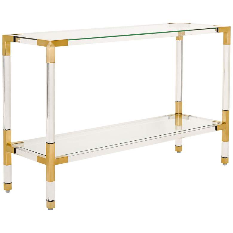 """Arverne 47"""" Wide Brass Steel and Clear Glass Console Table"""