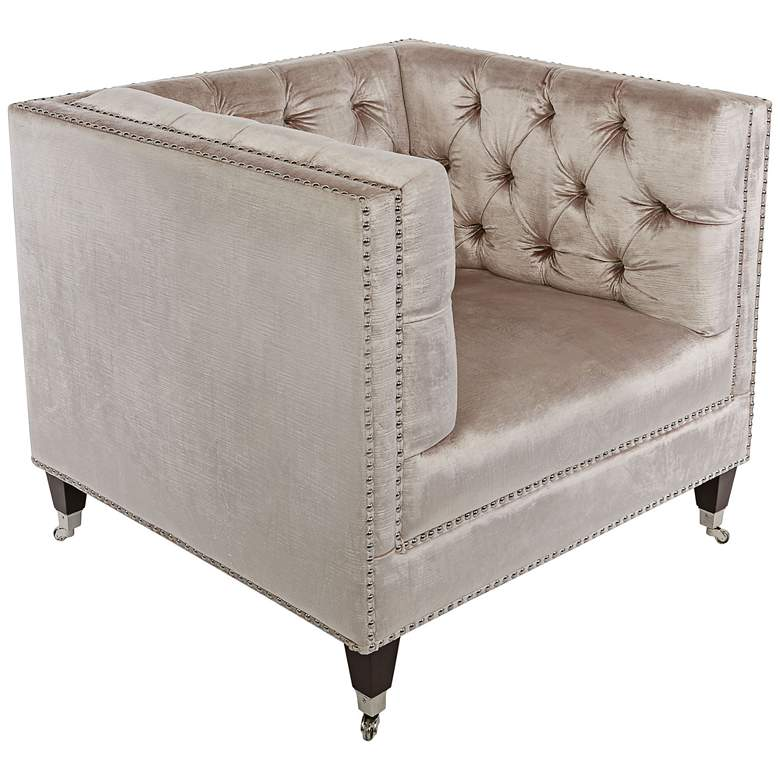 Miller Pearl Velvet Hollywood Glam Tufted Square Armchair