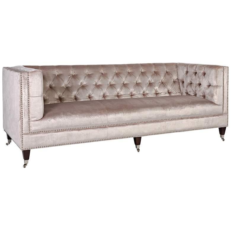 """Miller 84 1/4"""" Wide Pearl Velvet Hollywood Glam Tufted Sofa"""
