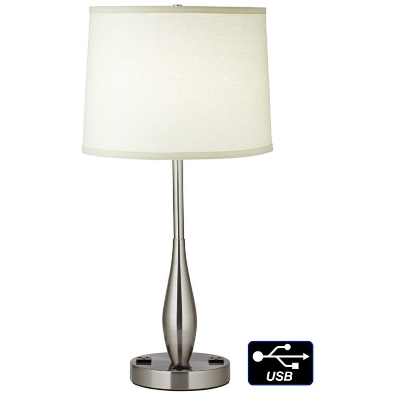 9F180 - Brushed nickel Teardrop Table Lamp w/Outlets