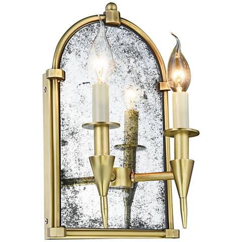 "Bavaria 14"" High Burnished Brass 2-Light Wall Sconce"