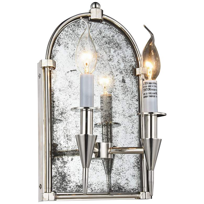 "Bavaria 14"" High Polished Nickel 2-Light Wall Sconce"