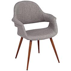 Phoebe Modern Gray Fabric Accent Armchair