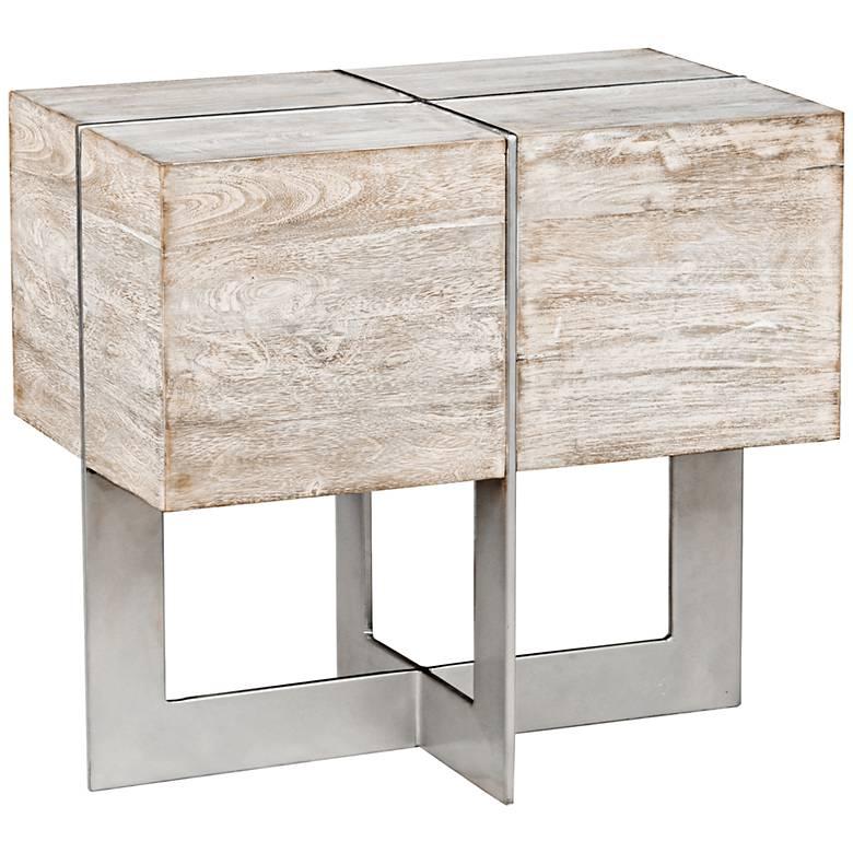 "Desmond 26"" Wide Whitewash Wood Modern End Table"