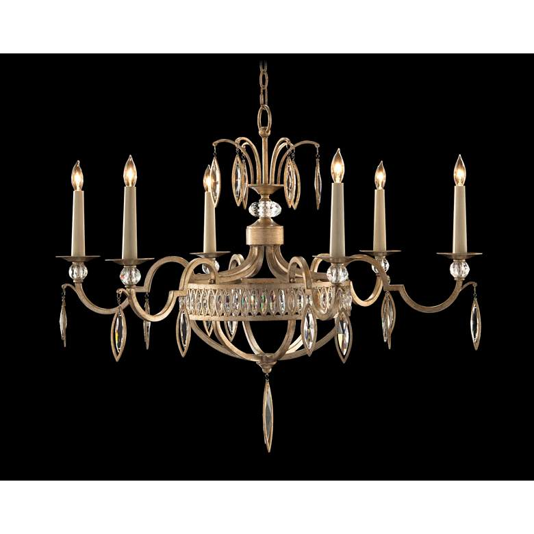 """Marquise Crystal 36""""W Antique Silver Leaf 6-Light Chandelier"""