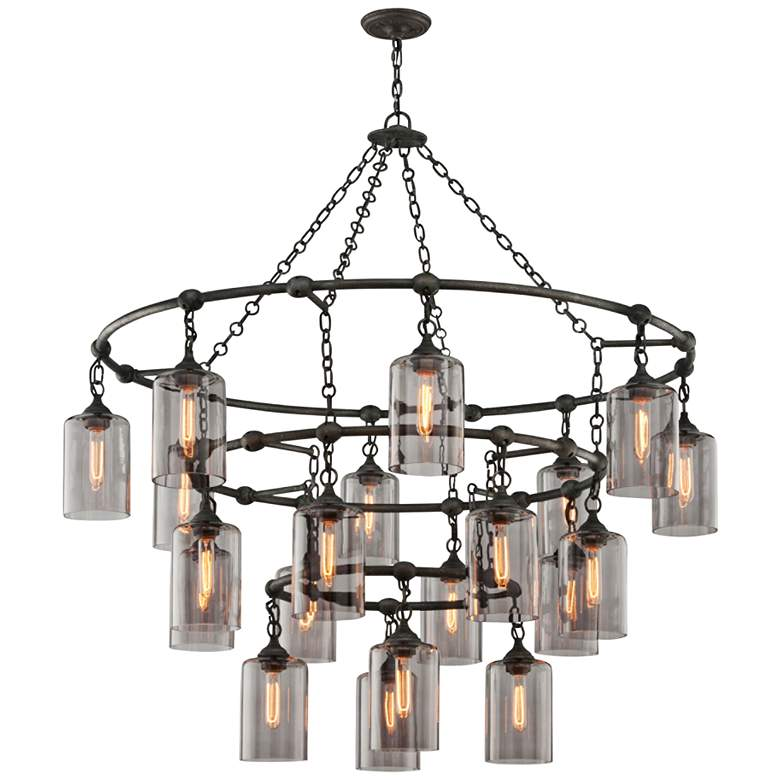 Gotham 20-Light Aged Silver Chandelier with Smoked Glass