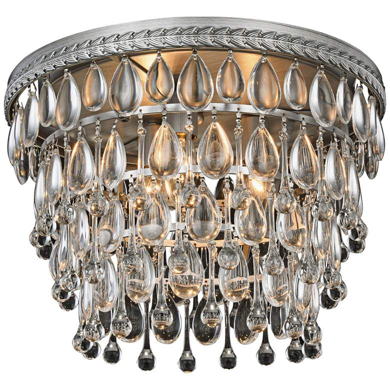 """Nordic 15""""W 3-Light Antique Silver and Crystal Ceiling Light"""