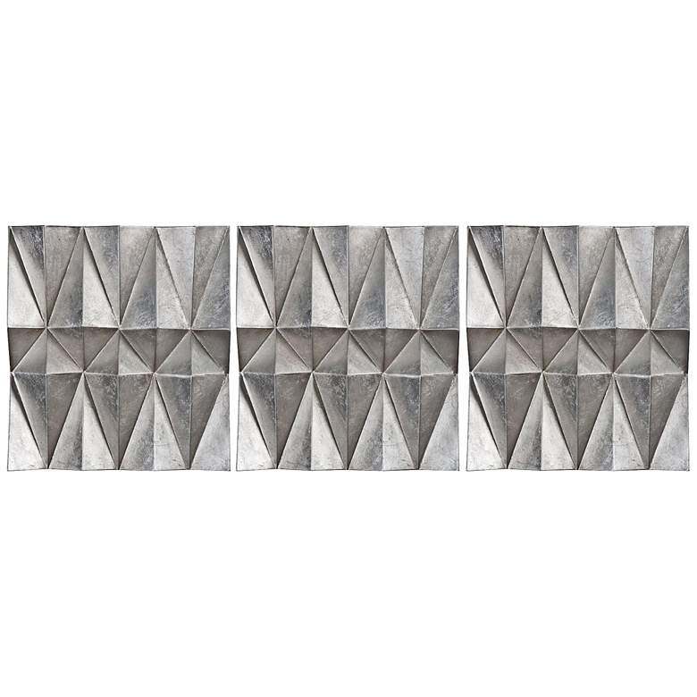 "Uttermost Maxton Silver Leaf 22""H Metal Wall Art Set of 3"