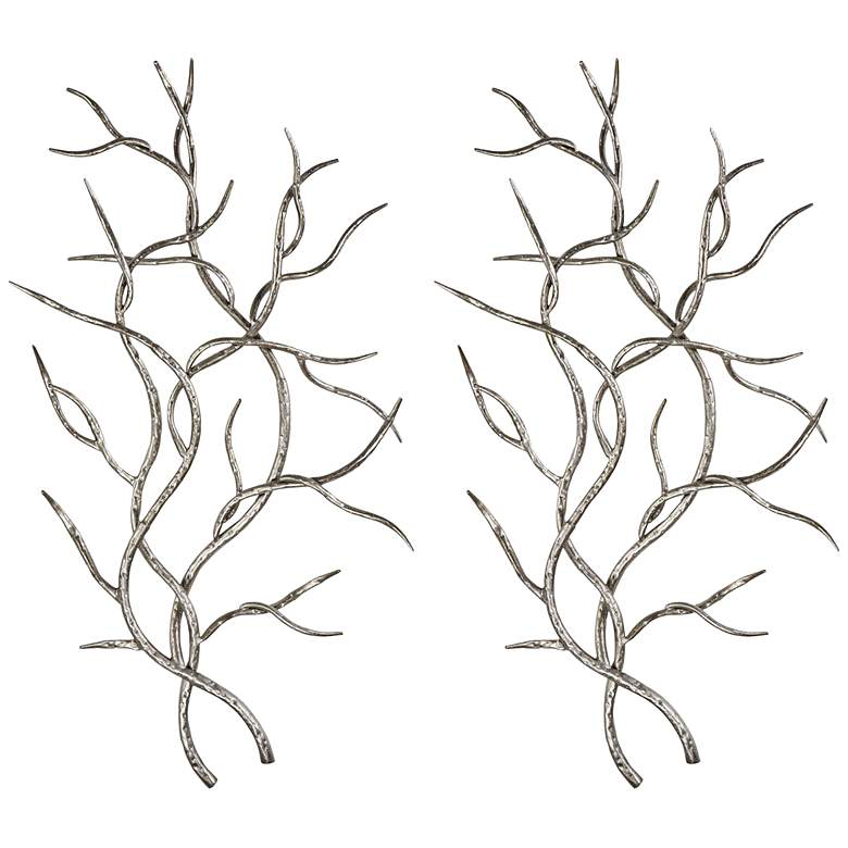 """Uttermost Silver Branches 36 3/4""""H Metal Wall Art Set of 2"""