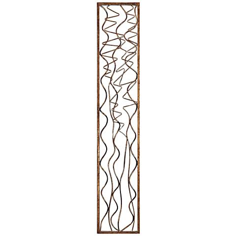 """Uttermost Scribble Aged Gold Leaf 60"""" High Metal Wall Panel"""