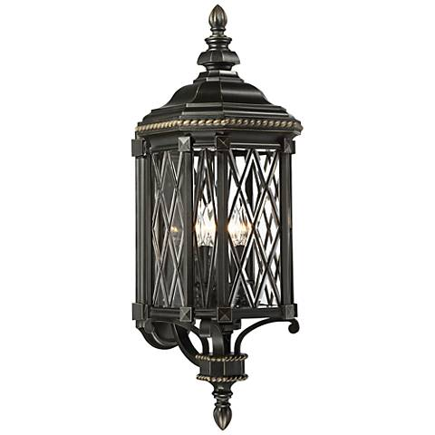 "Bexley Manor 31 3/4""H Diamond Black Outdoor Wall Light"
