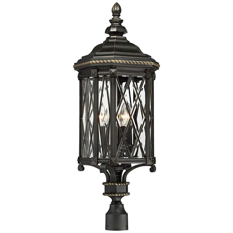 "Bexley Manor 32 1/2""H Diamond Black Outdoor Post"