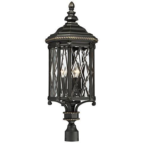 "Bexley Manor 32 1/2""H Diamond Black Outdoor Post Light"