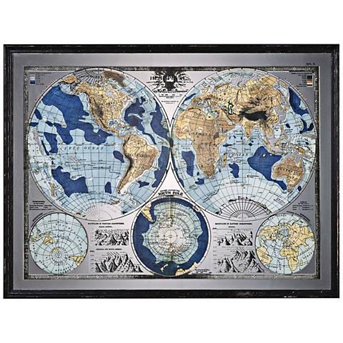 """Uttermost Mirrored World Map 54 3/4"""" Wide Framed Wall Art"""