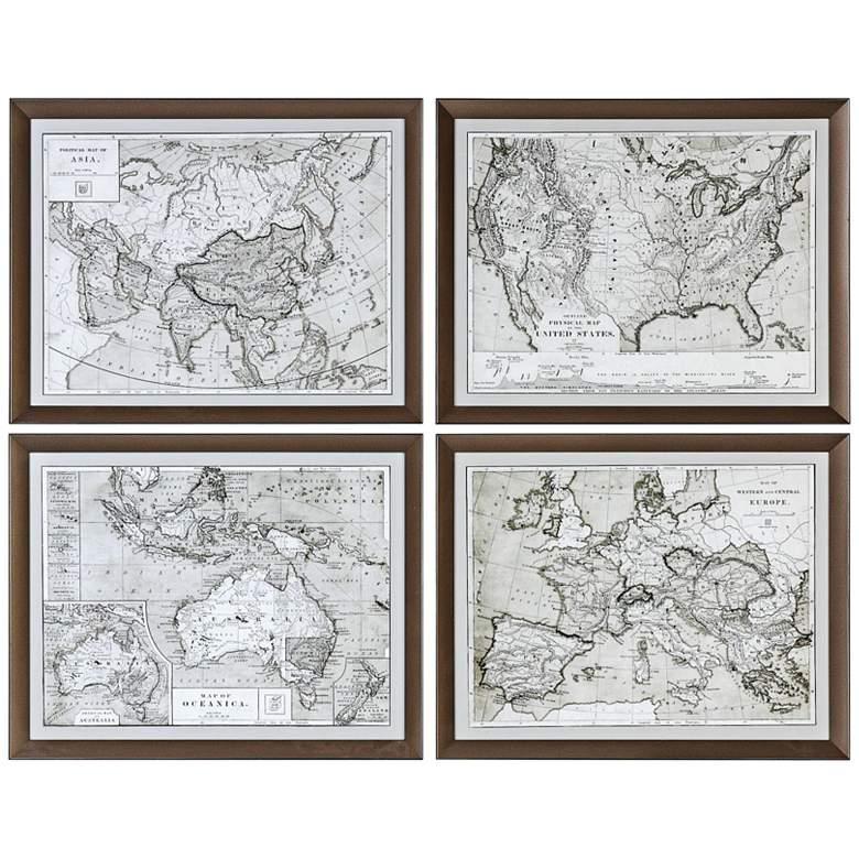 """Uttermost World Maps 4-Piece 28 1/4""""W Framed Wall Art Set"""