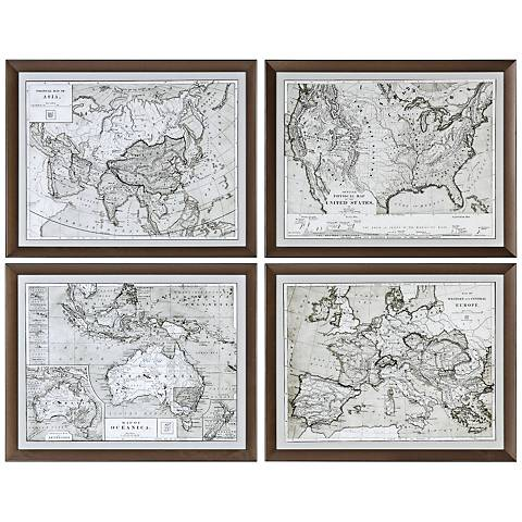 "Uttermost World Maps 4-Piece 28 1/4""W Framed Wall Art Set"