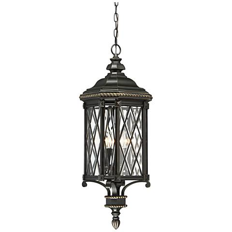 "Bexley Manor 31 3/4""H Diamond Black Outdoor Hanging Light"