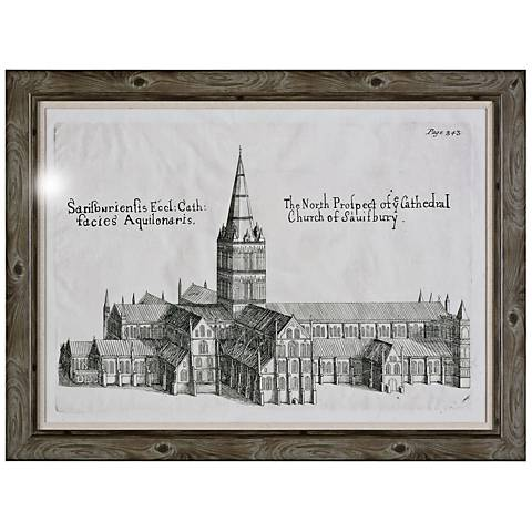 """Uttermost Salisbury Cathedral 57 1/2"""" Wide Framed Wall Art"""
