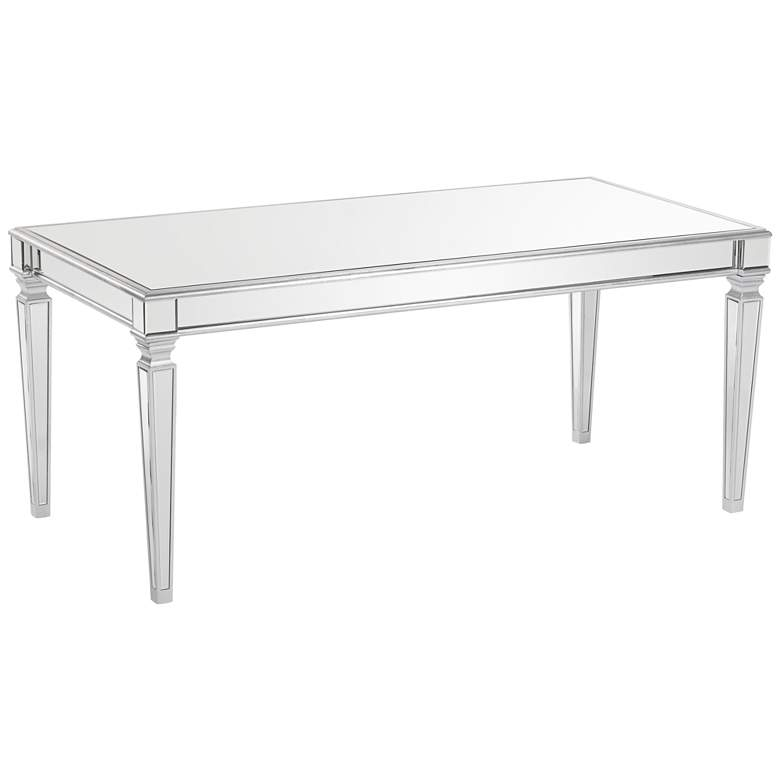 """Veronica 71"""" Wide Silver and Mirror Dining Table"""