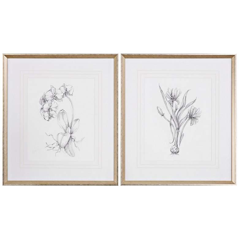 """Botanical Sketches 2-Piece 32"""" High Framed Wall Art Set"""
