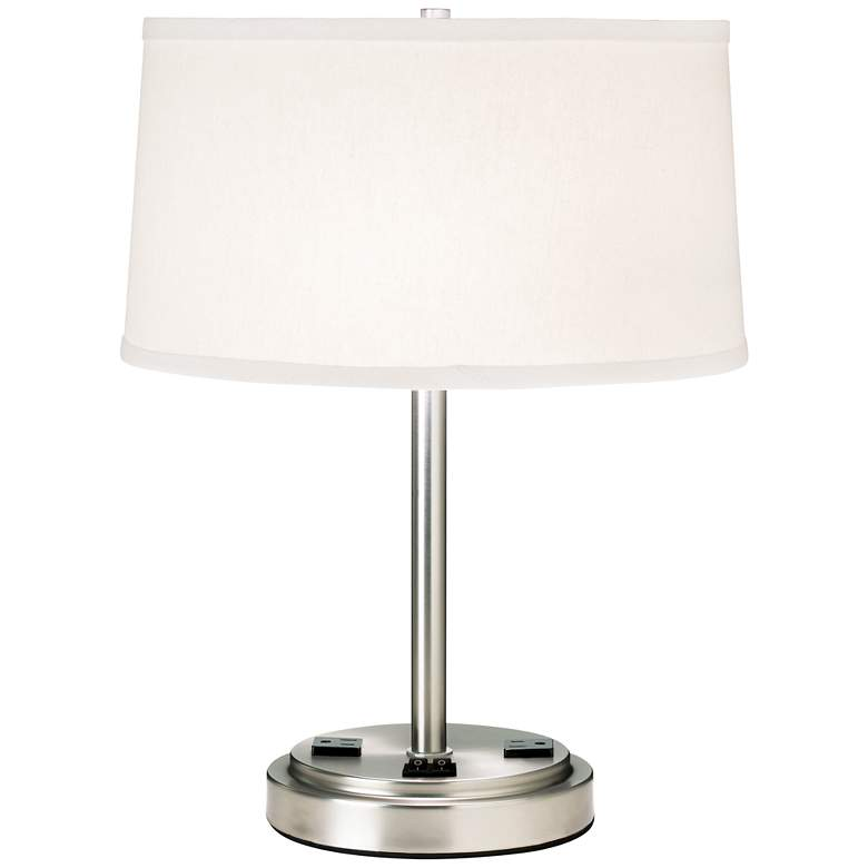 9G317 - Brushed Steel and Creme Shade Workstation Table Lamp