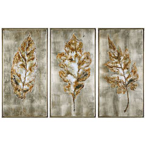 """Champagne Leaves 3-Piece 40 3/4"""" High Canvas Wall Art Set"""