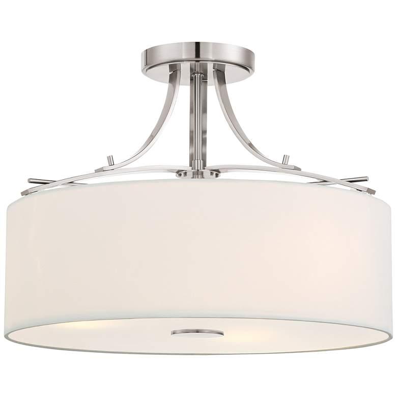 """Poleis 16 1/2"""" Wide Brushed Nickel Ceiling Light"""