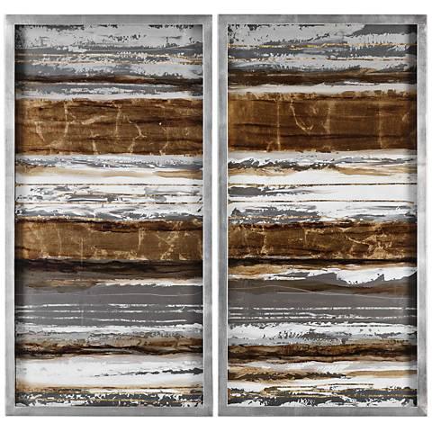 """Metallic Layers 2-Piece 41 3/4"""" High Framed Wall Art Set"""
