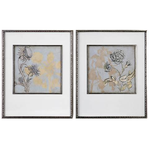 """Shadow Florals 2-Piece 32 3/4"""" High Framed Wall Art Set"""
