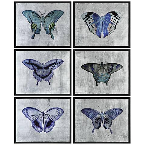 """Vibrant Butterflies 6-Piece 19 3/4"""" Wide Wall Art Set"""