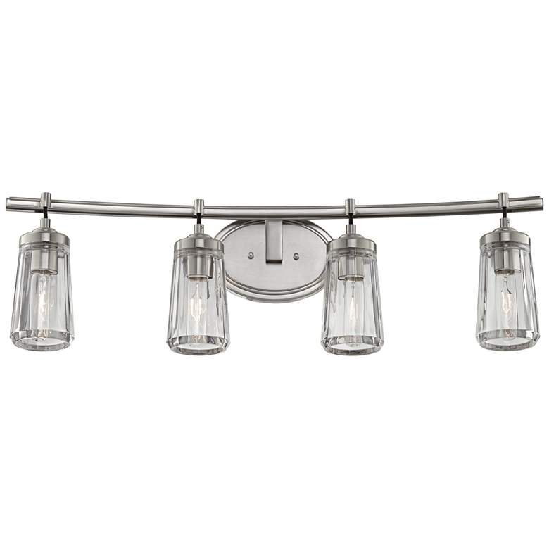 "Poleis 32"" Wide 4-Light Brushed Nickel Bath Vanity Light"