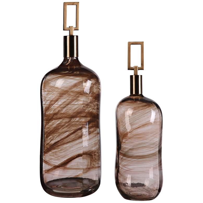 Uttermost Ginevra Brown Art Glass Bottles - Set of 2