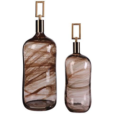 Uttermost Ginevra Brown Glass 2-Piece Bottles Set