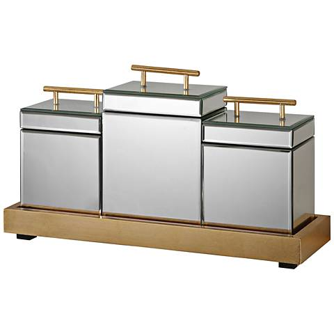 Uttermost Faustina Mirrored Gold 4-Piece Boxes and Tray Set