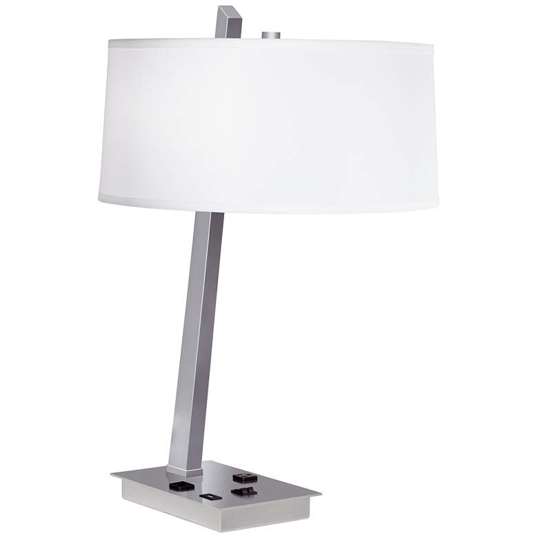 9G567 - Brushed Nickel Metal Table Lamp w/ Workstation