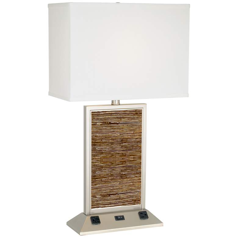 9G705 - Banana Fiber Table Lamp with Outlets