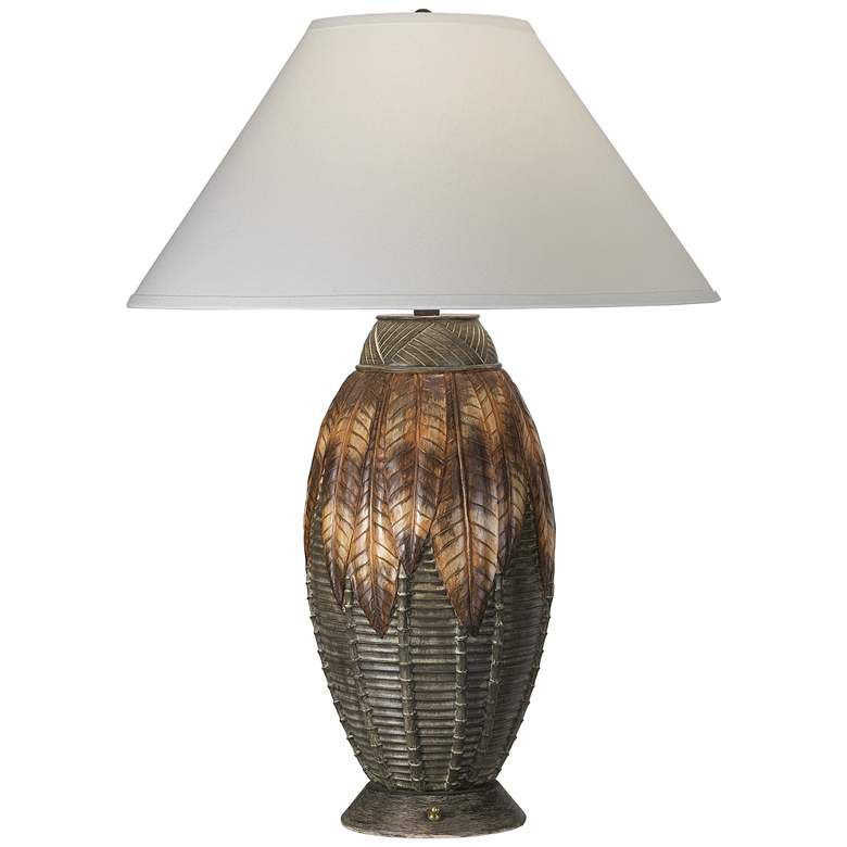 9G737 - Carved and Woven Table Lamp