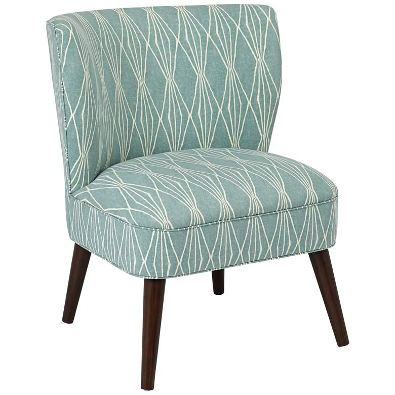 Ella Rain Blue Fabric Mid-Century Modern Armless Chair