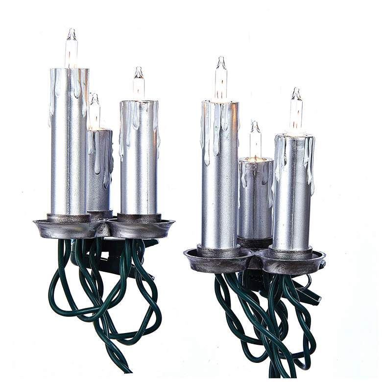 15-Light Triple Antique Silver Candle String Light Set