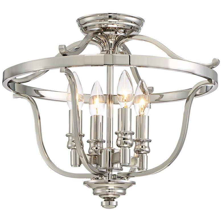 """Audrey's Point 17 1/4"""" Wide Polished Nickel Ceiling Light"""