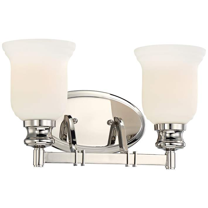 Audrey S Point 15 Wide Polished Nickel 2 Light Bath