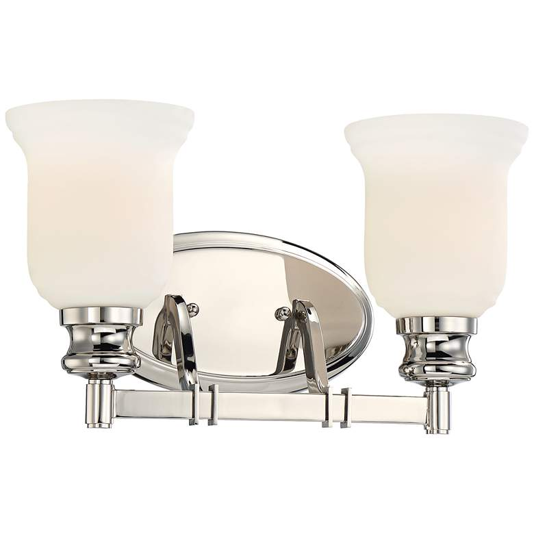 "Audrey's Point 15"" Wide Polished Nickel 2-Light Bath Light"