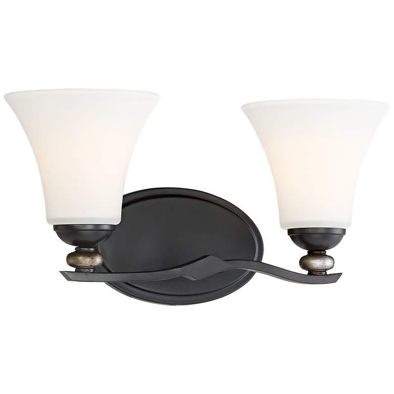 """Shadow Glen 16"""" Wide Lathan Bronze 2-Light Bath Light"""