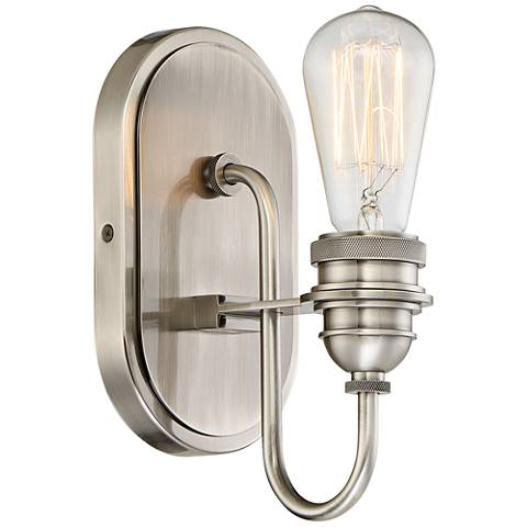 "Uptown Edison II 10 3/4"" High Plated Pewter Wall Sconce"