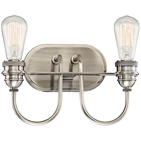 "Uptown Edison II 12 1/4""W Plated Pewter 2-Light Bath Light"