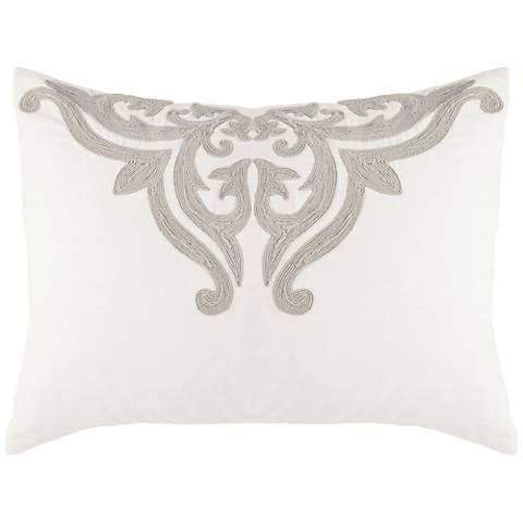 Patrina Ivory Hand-Embroidered Cotton Standard Pillow Sham
